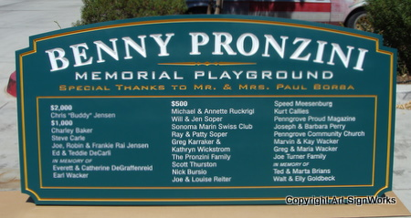 GA16488 - Wooden Memorial Entrance Sign for Playground with Benefactor List