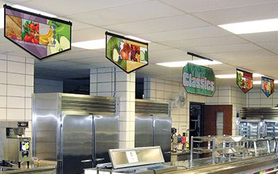 School café serving line with 4 banners and main sign hanging from ceiling, custom signs, food banners
