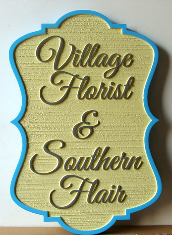 "SA28489 - Carved and Sandblasted Wood-Grain Sign for ""Village Florist and Southern Flair""."