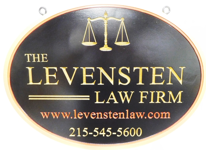A10422 - Carved Engraved 2.5-D High-Density-Urethane (HDU sign) for the Levensten Law Firm, with Metallic Gold Painted Text and Scales of Justice.
