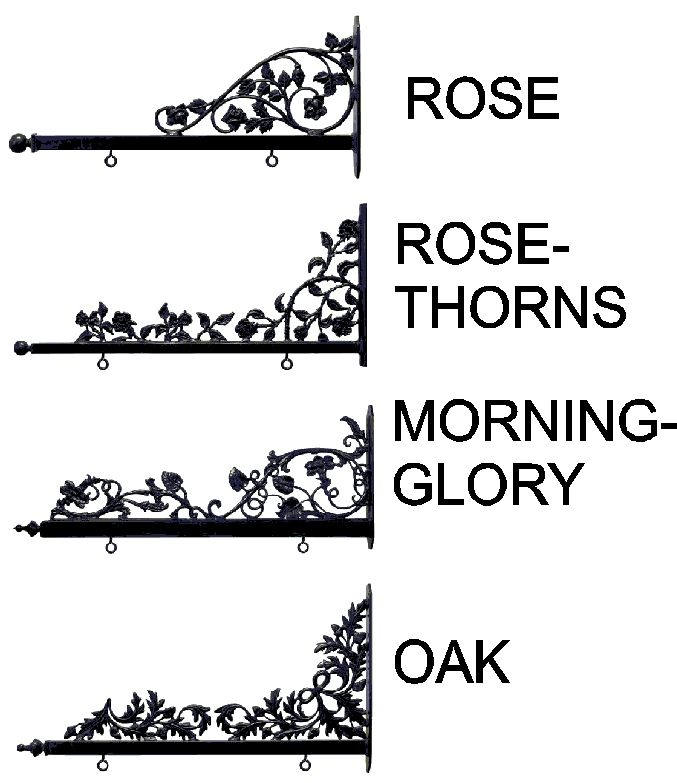 GA16723 - Decorative, Long-lasting Scroll Sign Brackets for Rose, Rose Thorn, Morning Glories and Oak Leaves