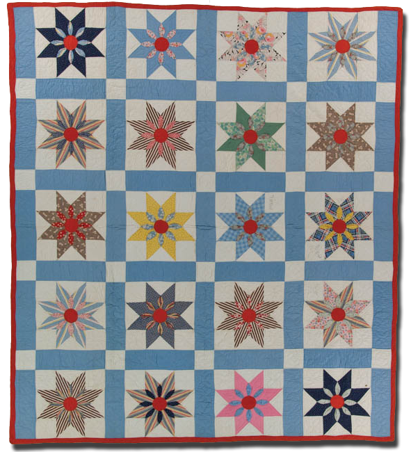 Eight Pointed Stars, Made by Hattie Broadbent Vermillion, Made in Madison County, Indiana, United States, Circa 1938, 86 x 76.5 in, IQSC 1997.007.0527