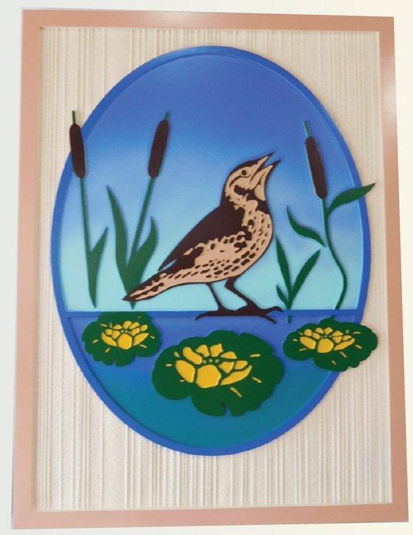 M22825 - Beautifal Carved Multi-Level Sign, with a Shore Bird, Lily Pads, and Cattails as Artwork