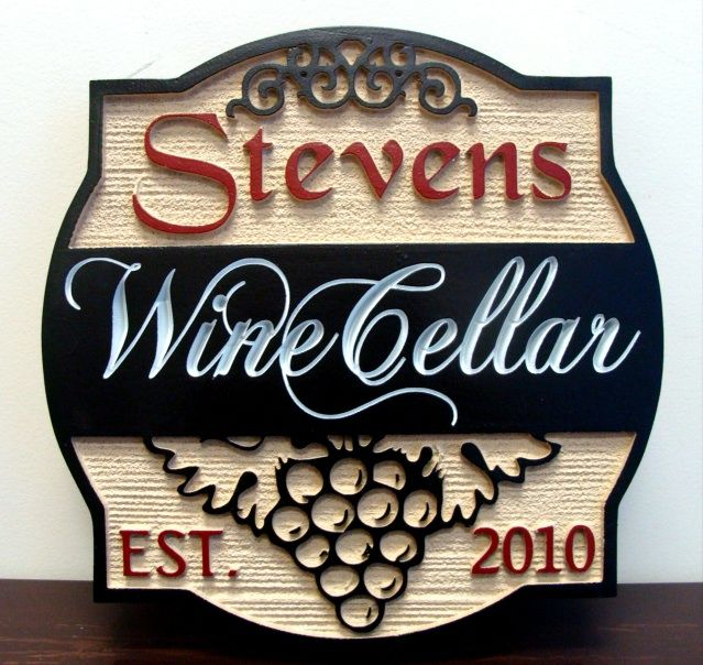 FG605 -  Carved 2.5-D and Engraved HDU Wall Plaque, with Stylized Grape Cluster