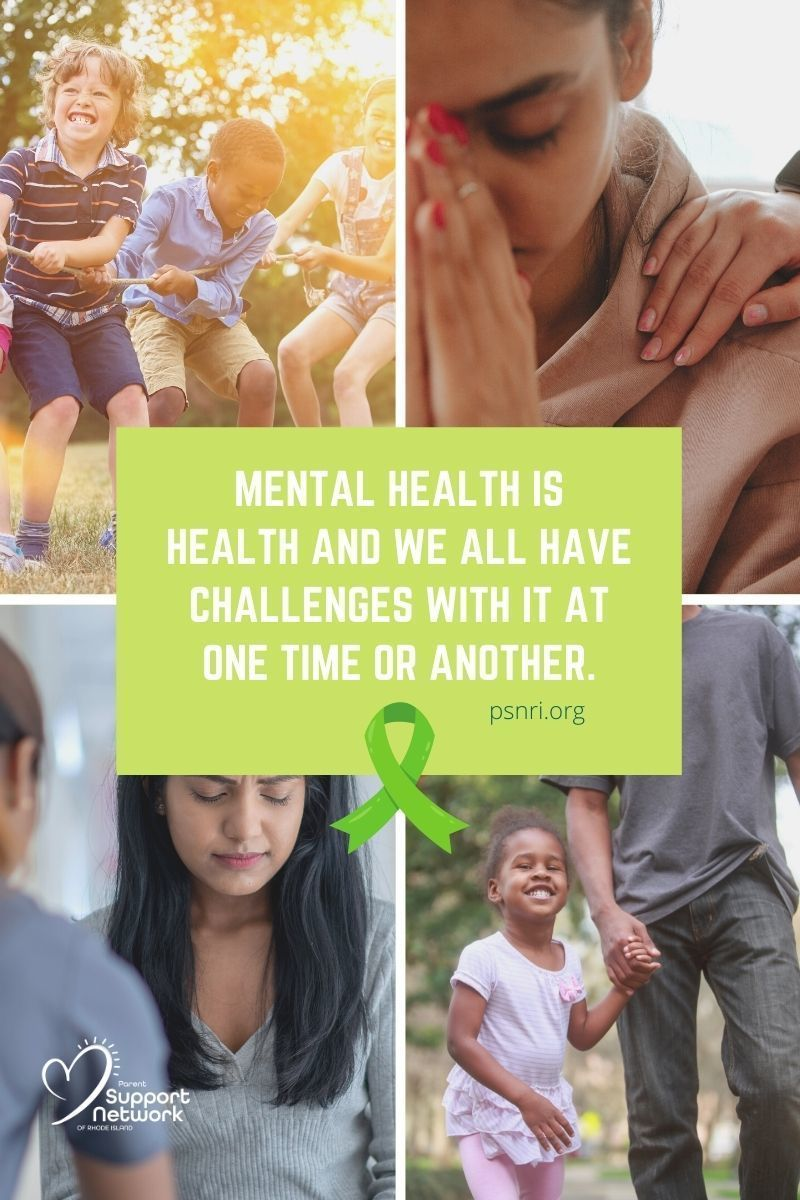 Mental Health Awareness month ribbon and picture collage with quote from blog post