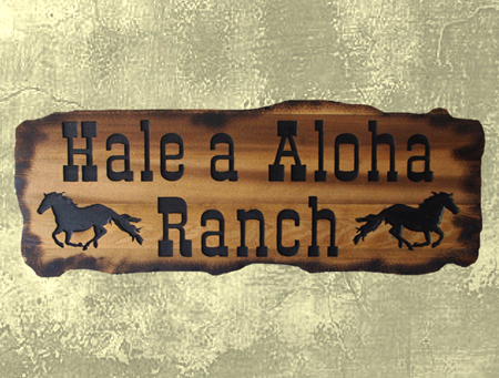 P25241 - Rustic (Scorched) Engraved Cedar Wood Sign for Hawaiian Horse Ranch, with Galloping Horses
