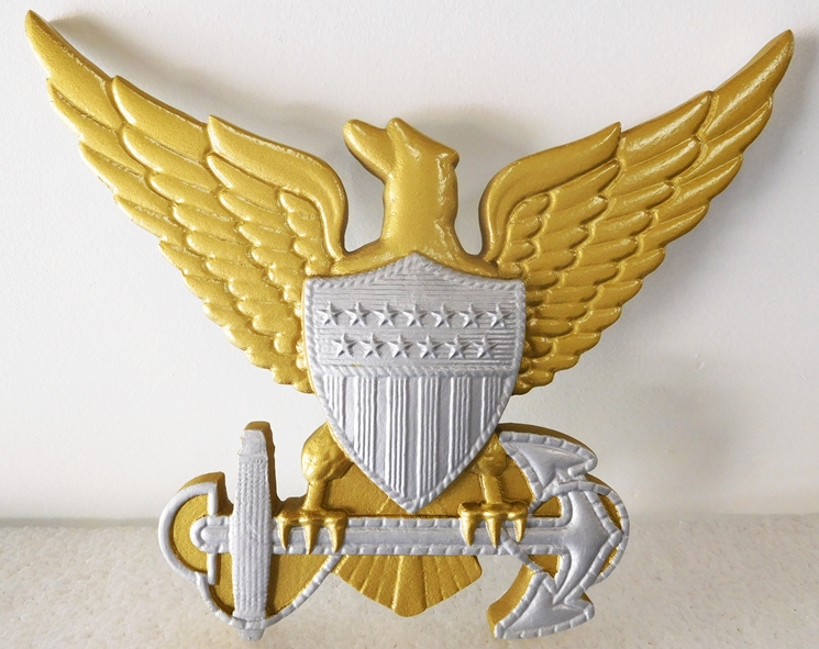 JP-1440 - Carved Plaque of a Navy Emblem, Eagle with Anchor,  Painted Metallic Gold & Silver