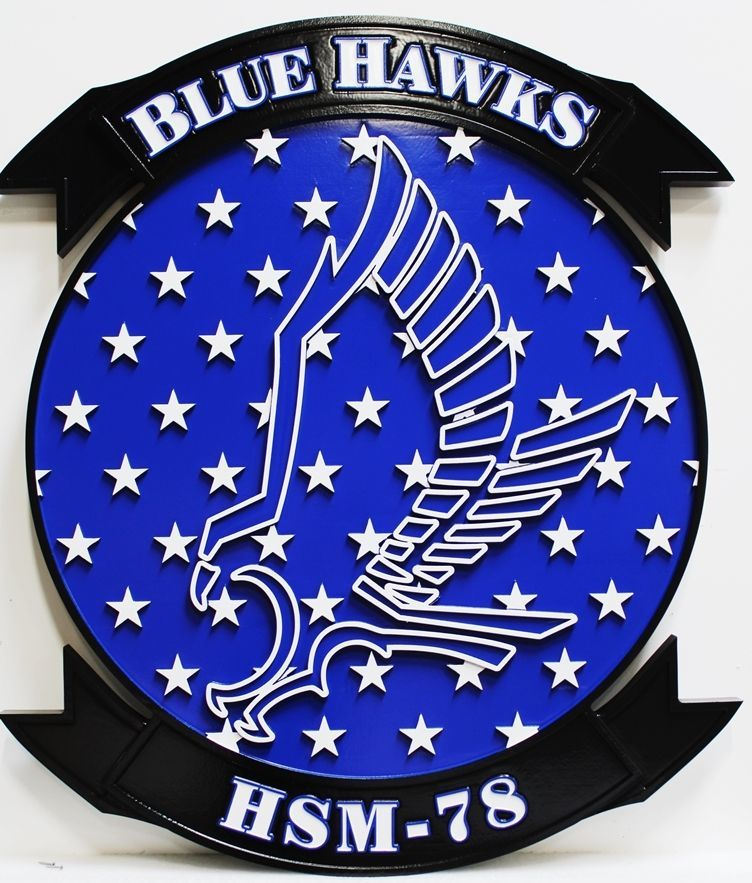 JP-1668 - Carved 2.5-D Outline Relief HDU Plaque of the Crest ofthe Blue Hawks, Helicopter Maritime Squadron Strike Squadron HSM-78.