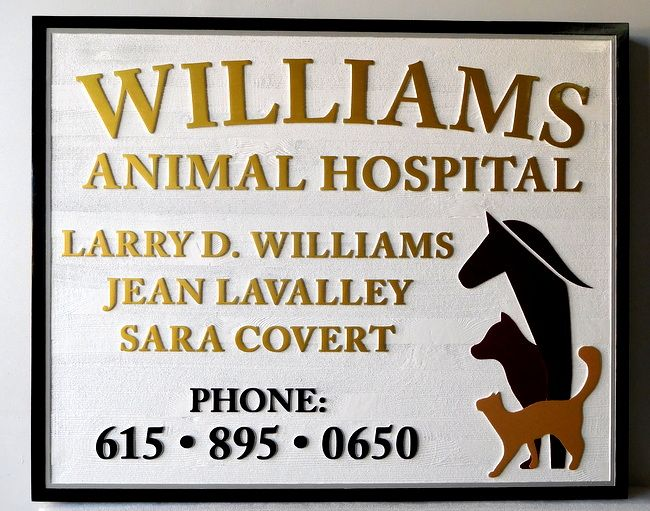 BB1754 - Carved and Sandblasted Animal Hospital Sign, with Horse, Dog and Cat as Artwork