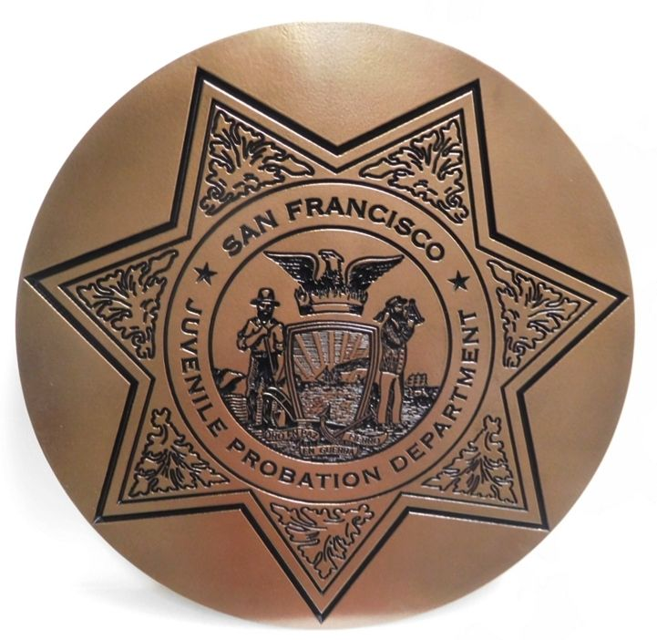PP-1830 - Carved Plaque of the Badge for the San Francisco Juvenile Probation Department , 2.5-D Engraved Bronze-Plated