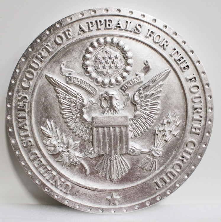 FP-1071 - Carved Plaque of theSeal of the US Court of Appeals, Fourth Circuit, 3-D Silver-Leaf Gilded