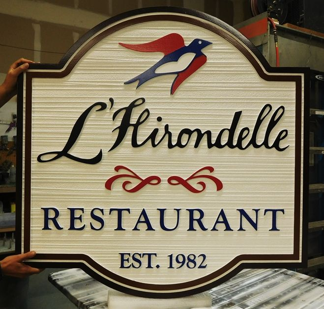 "Q25013 - Sandblasted, Woodgrain HDU Sign for French Restaurant ""L'Hirondelle"" (""The Swallow"" in French)."