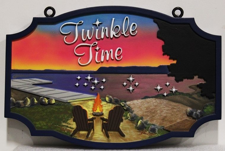 "Carved 2.5-D Multi-level HDU  Beach Home Name Sign ""Twinkle Time"" , with  a Sunset,  a Beach, a Dock, Two Empty Chairs, a Fire and Stars as Artwork"