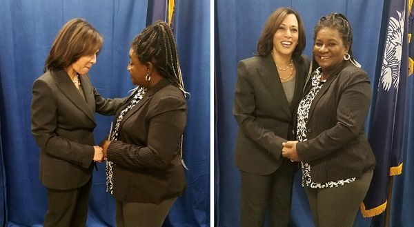 Kamala Harris VP met with Step By Step's executive director Angela Hurks