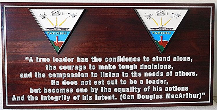 V31461 - Cedar Wood Plaque Featuring General\Douglas MacArthur's Quote on  Leadership.