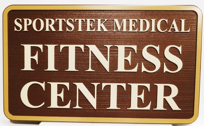 GB16116 - Carved High-Density-Urethane (HDU)  Sign for Sportstek Medical Fitness Center