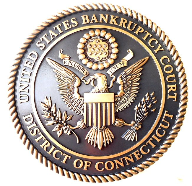 A10819 - 3-D Brass Wall Plaque for Bankruptcy Court, District of Columbia.
