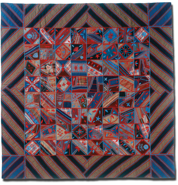 Wool Crazy Quilt, Maker unknown, Probably made in Lancaster County, Pennsylvania, United States, Dated 1891, 82.5 x 64 in, IQSC 1997.007.0107