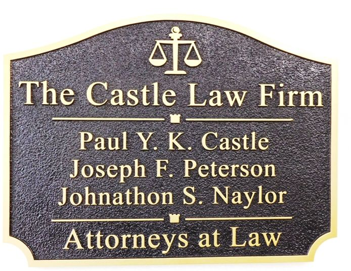 A10692 - Carved, High Density Urethane Sign for Law Firm (Attorneys At Law) with Scales of Justice