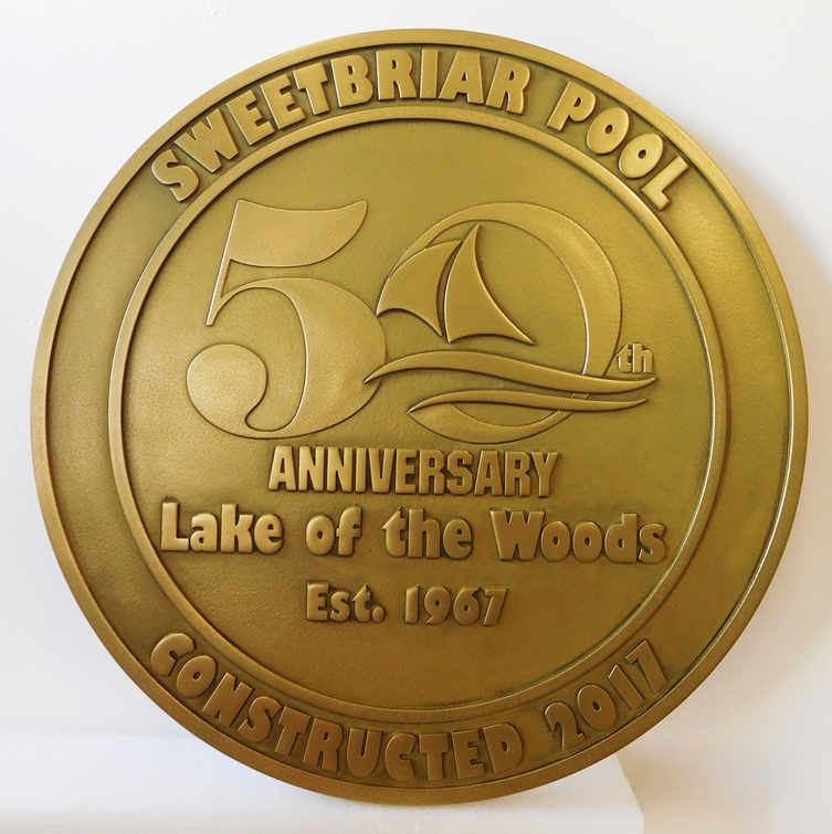 GB16751 - Bronze Plated Commemorating Fiftieth Anniversary for Sweetbriar Pool
