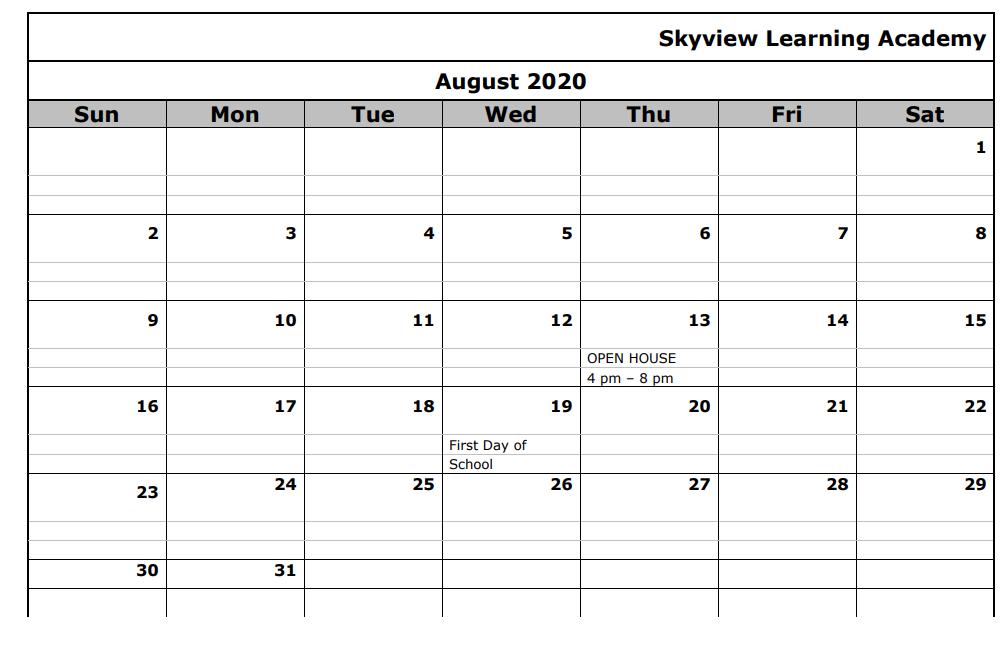 2020-2021 School Calendar