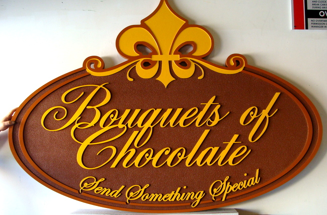 "Q25633 - Carved Wood Look HDU Sign, ""Bouquets of Chocolate"" "" Send Something Special,"" with Carved Fleur-des-Lis"