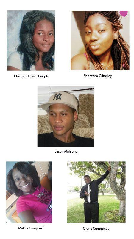 CHRISTINA OLIVER JOSEPH, SHONTERIA GRIMSLEY, JASON MAHLUNG, MAKITA CAMPBELL, ORANE CUMMINGS