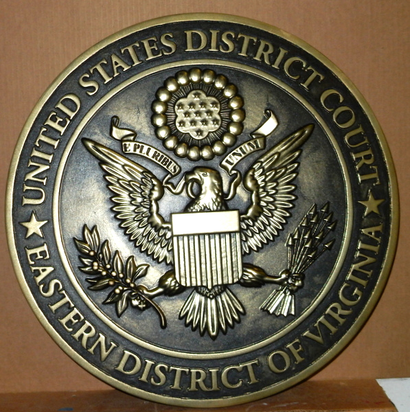 FP-1300 - Carved Plaque of the Seal  of the US District Court, Eastern District of Virginia, Brass Plated