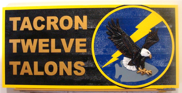 V31254 - Carved Wooden 3-D Sign for USN Tacron 12 Talons Headquarters