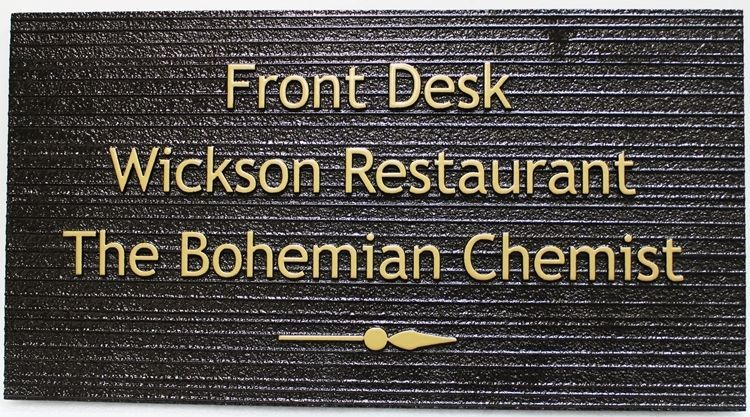 Q25867 - Carved and Sandblasted Wood Grain HDU Wayfinding  Sign for a Restaurant