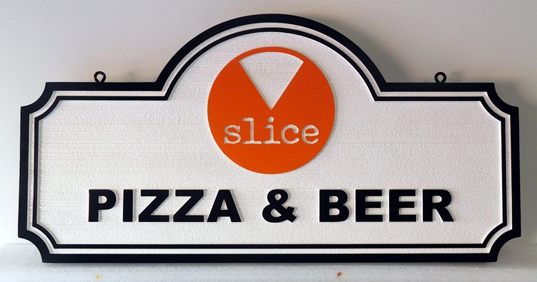 Q25342 - Carved, HDU Sign For Pizza and Beer Restaurant with Artwork of Pizza Slice