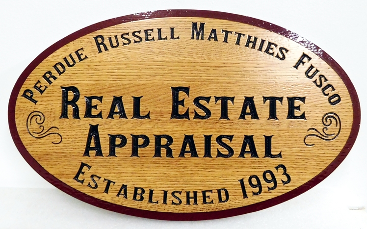 C12325 -  Engraved Western Red Cedar Sign for A Real Estate Appraisal Company