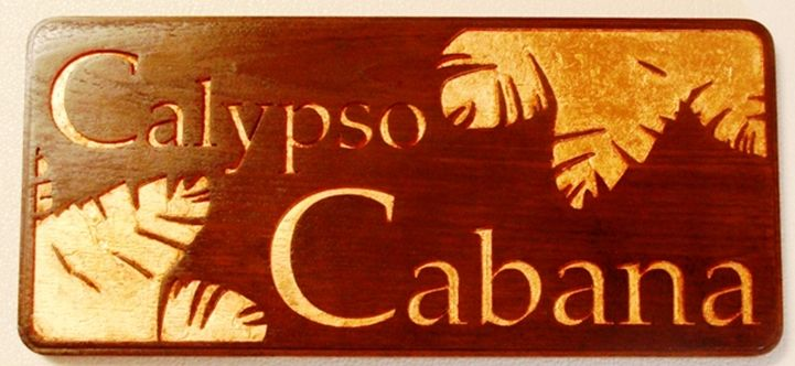 Q25176 - Carved Cedar Wood Sign for Calypso Cabana Restaurant Sign with Carved 24K Gold Leaf-Gilt Leaves and Letters