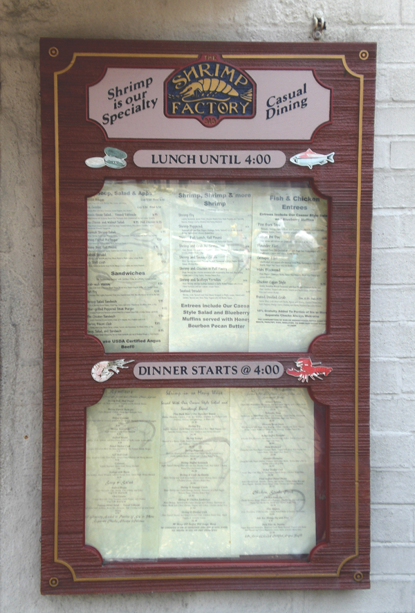 Shrimp Factory Menu Board