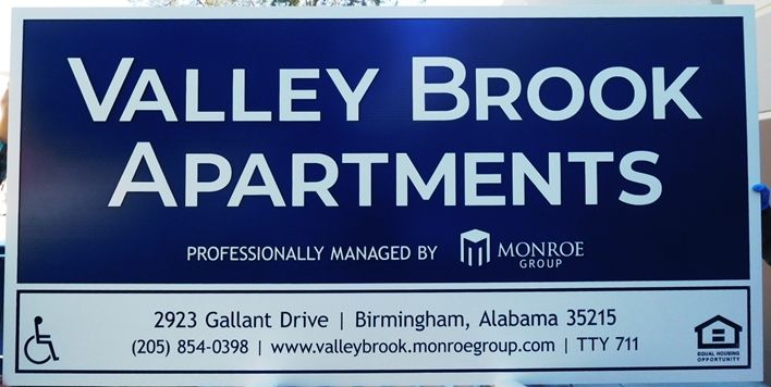 "K20332 - Carved HDU Sign for the ""Valley Brook"" Apartments"