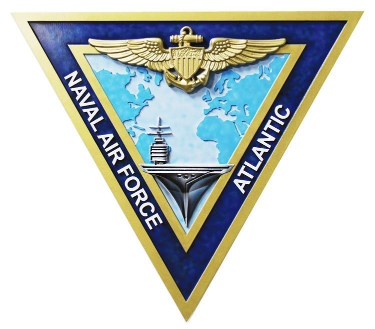 "V21224A - Carved  3-D HDU Plaque for the ""Naval Air Force - Atlantic"", with a Carrier, Naval Aviator Badge, and Map as Artwork"
