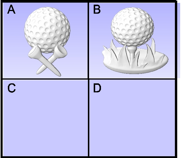 E14911 - Carved Golf Ball & Tees for Golf Course Signs