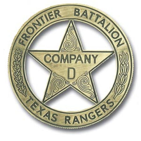 X33458 - Carved Brass-Coated   Wall Plaque of Historical Company D Texas Ranger Badge