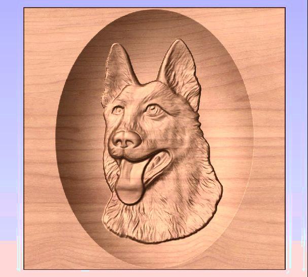 M3973 - Carved Redwood German Shepherd