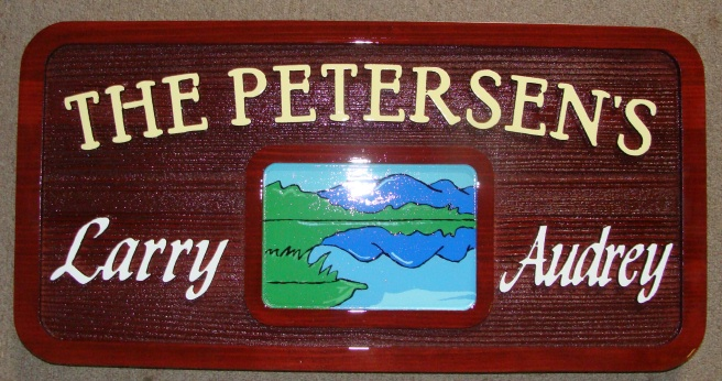 M22344 - Redwood  Cabin Sign with Lake Scene