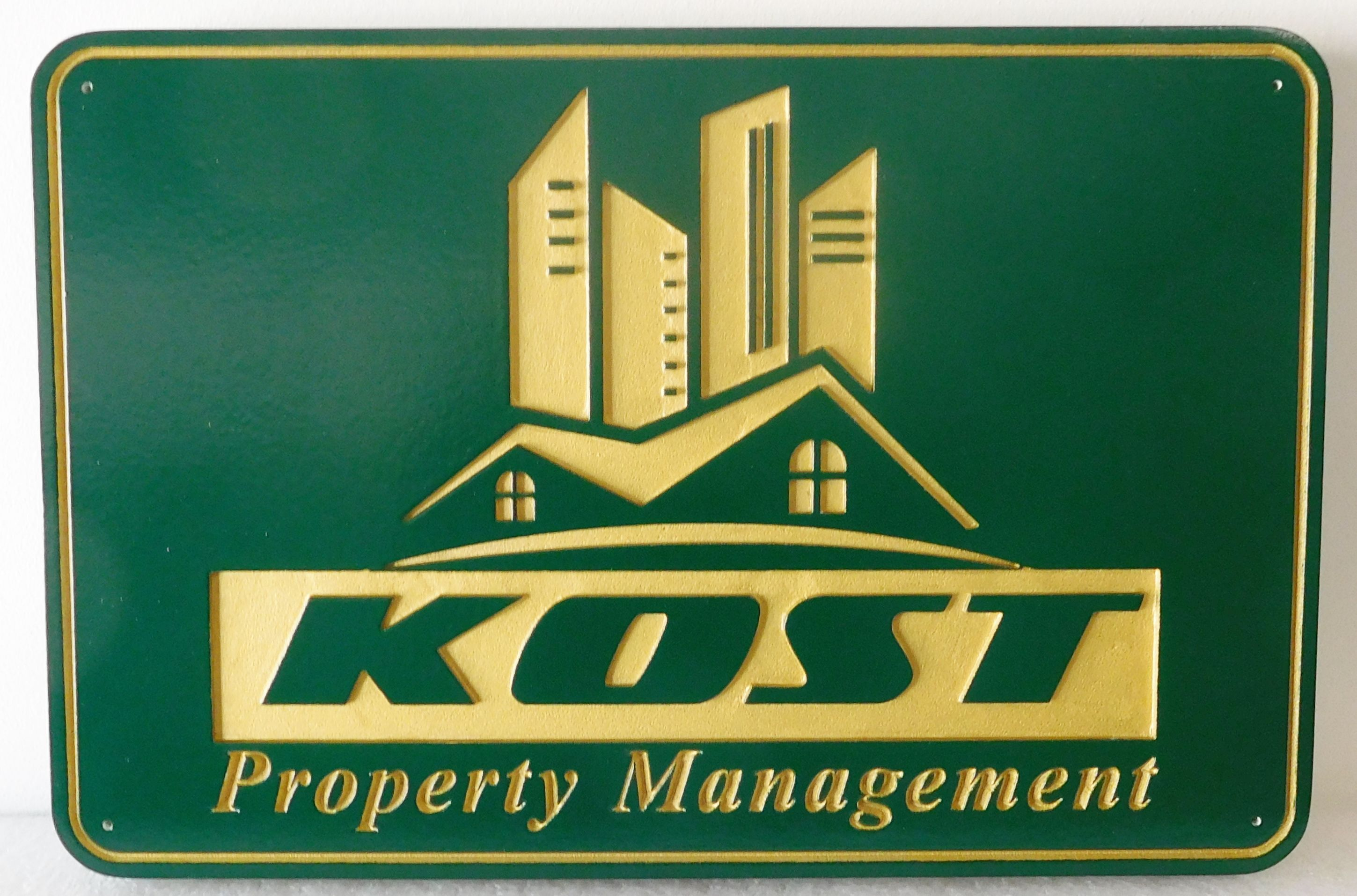 C12326 -   Engraved HDU Sign for Property Management Company, with Recessed Art of Buildings