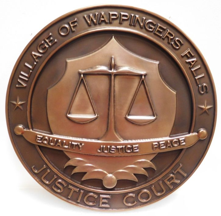 HP-1050 - Carved Plaque of the Seal of the the Justice Court, Village of Wappinger's Falls, 3-D Bronze-plated