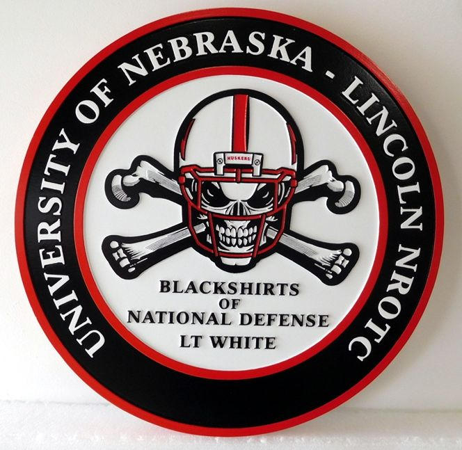 RP-2010 - Carved Plaque of the Logo of University of Nebraska NROTC, Artist Painted