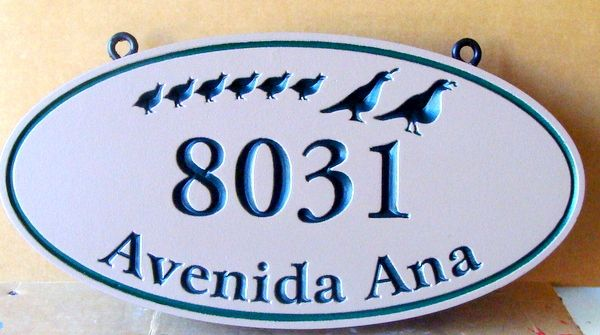 I18534- Engraved HDU Address Sign with Quail Family