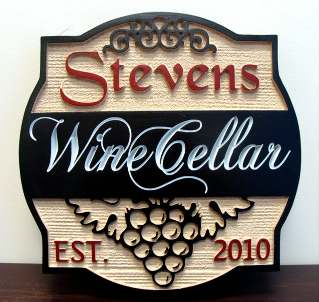 FG605 -  Carved 2.5-D  and Engraved HDU Wall Plaque, with Stylized Grape Cluster - $220