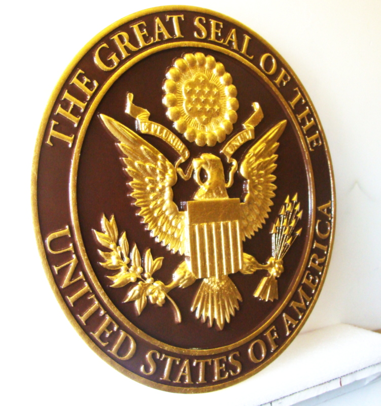 M7333- Gold-Leaf and Bronze Wall Plaque for Great Seal of the USA (side view)