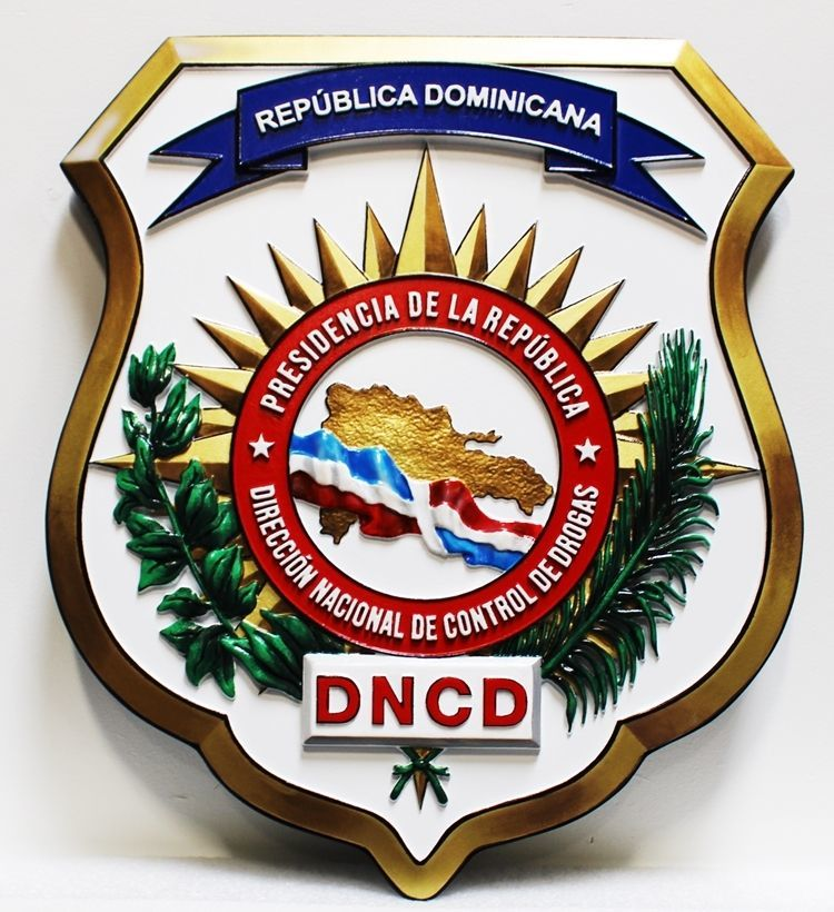 EP-1090 - Carved 3-D HDU Plaque of the Sealof the National Directorate of Drug Control (DNCD) , Dominican Republic