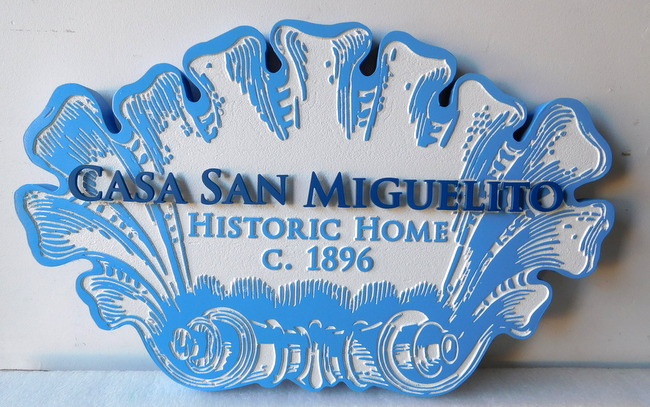 "F15426  - Carved Sign for Historical Building ""Casa San Miguelta"", with Metal Stand-off Letters."