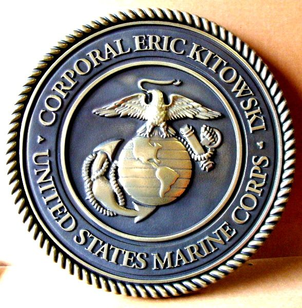 V31410 - Personalized Carved 3-D Wall Plaque of the Emblem of the United States Marine Corp (polished  bronze with dark patina background))