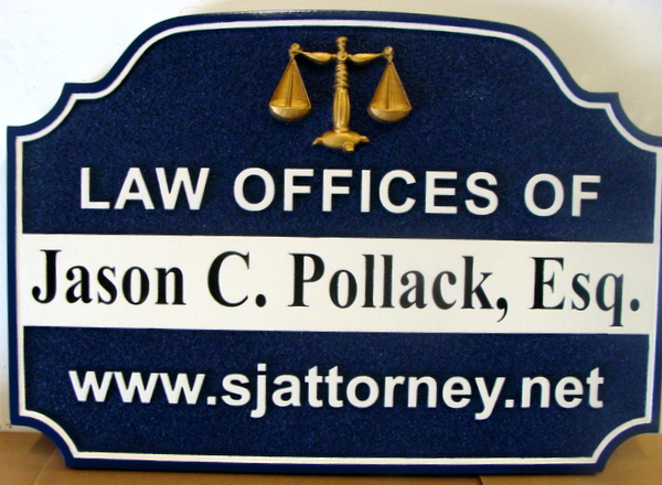 A10008A - Law Office Shingle with Gold Scales of Justice